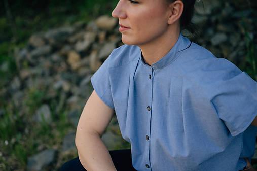 Topy - Bavlnená blúzka business s krátkymi rukávmi, modrá   - 13439874_