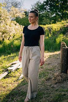 Nohavice - Letné široké nohavice na šnurovanie z tenkej džínsoviny, béžové - 13440373_