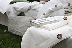 Úžitkový textil - Ľanové obliečky Martina (50x70cm 140x200cm mliečna biela - Biela) - 13441828_