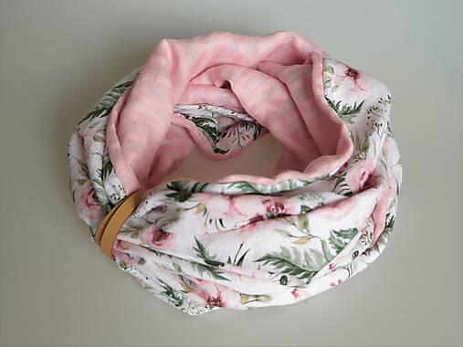 Štýlový ľahučký ľanový nákrčník kvety rose
