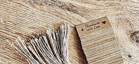 Obalový materiál - Vysačka papierova- Handmade with Love 50 x 18 mm - 13443801_