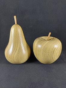 Dekorácie - wooden acacia pear and apple - 13444845_