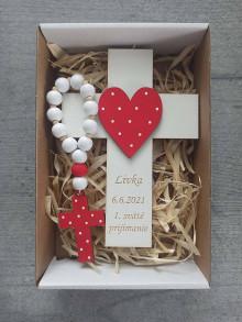 Dekorácie - Darček na prvé sväté prijímanie, Set krížik a ruženec na prvé sväté prijímanie - 13442915_