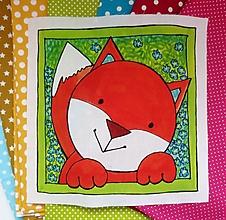 Textil - Bavlnený panel UŠI SI SÁM - Zvieratko z lesa (Líštička) - 13442804_