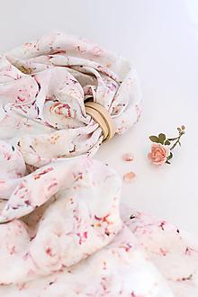 """Šatky - Jemná pôvabná dámska šatka z kvetinového ľanu """"FairyRose"""" - 13443207_"""