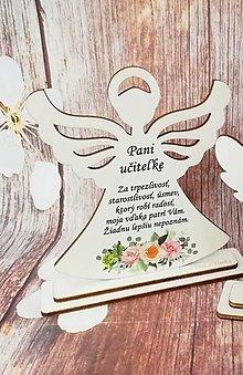 Dekorácie - Anjelik pre pani učiteľku / pána učiteľa - 13443856_