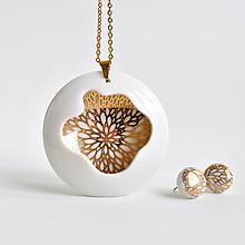 Sady šperkov - Porcelánový náhrdelník + náušnice Introvert no.45 - 13444342_