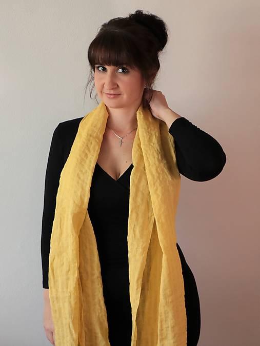 Ľanový ľahký šál žltý