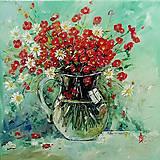 Obrazy - Kytička v sklenenom džbáne - 13446314_