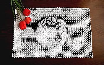Úžitkový textil - Háčkovaná filetová dečka - 13447259_