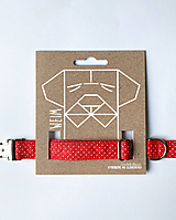 Pre zvieratá - Obojok Pipi - červený s mini bodkami - 13446558_