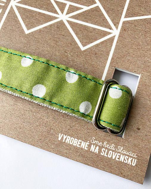 Obojok Guliver - zelený s bielym guľkami