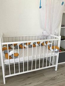 Textil - Pletený mantinel 3k biela-horčica-bledošedý melír - 13447428_