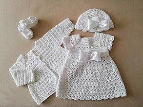 Detské oblečenie - Supravička na krst svetrík šaty papučky čiapočka - 13446143_