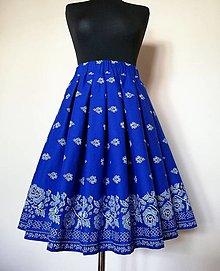 """Sukne - Folk skladaná sukňa  -bordúra """"modrotlač"""" kráľovská modrá - 13447520_"""