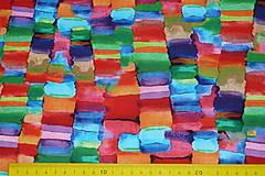 Textil - Úplet Farebná mozaika viskóza - 13449178_