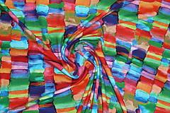 Textil - Úplet Farebná mozaika viskóza - 13449179_