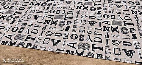 Textil - Bavlna režná - Písmo - cena za 10 cm - 13450401_