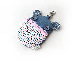 Taštičky - Kapsička na slúchadlá Zvieratko malé farebné bodky - 13448689_