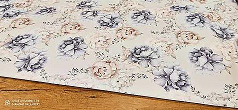 Textil - Úplet - Pivónie - cena za 10 cm - 13451256_