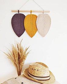 Dekorácie - Makramé závesná dekorácia CLOVER (Žltá/béžová/antracitová) - 13453495_