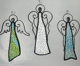 Dekorácie - Anjel na stenu - zo skla a kovu - 13451443_