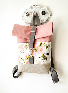 Batohy - Rolltop batoh MIDI, Ružové kvety - 13451301_