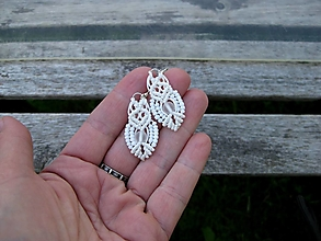 Náušnice - Macramé náušnice (biele, č. 3407) - 13451793_