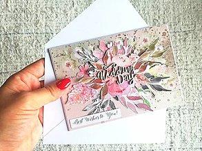 Papiernictvo - Svadobná gratulácia s obálkou - 13453589_