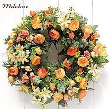 Dekorácie - Romantický veniec v oranžových odtieňoch - 13454989_
