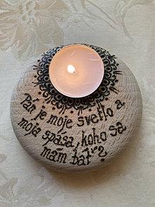 Svietidlá a sviečky - Vypaľovaný svietnik - Žalm 27 - 13454903_