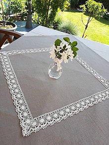 Úžitkový textil - Ľanový obrus Natural s krajkou - 13455261_