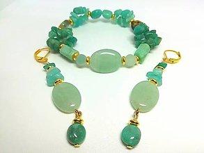 Sady šperkov - Súprava šperkov amazonit, aventurín, jadeit - 13455763_