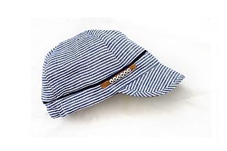 Detské čiapky - Šiltovka 100% ľan pásik - 13455919_