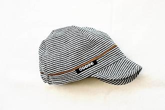 Detské čiapky - Šiltovka 100% ľan pásik sivočierna - 13455920_