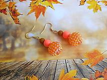 Náušnice - Náušnice oranžové - 13455806_