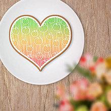 Dekorácie - Srdce potlač na koláč - ovocné krajky (jablko) - 13455745_