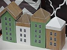 Dekorácie - Sada zelených vintage domčekov - 13456606_