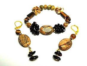 Sady šperkov - Súprava šperkov tigrie oko jaspis a granát - 13456098_