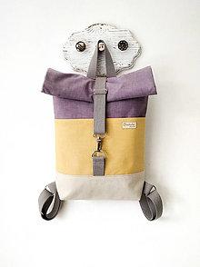 Batohy - Rolltop batoh MIDI, horčicovo-fialový - 13456017_