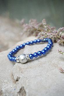 Náramky - Náramok modro - strieborný - 13457355_