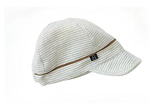 Detské čiapky - Šiltovka 100% ľan pásik béžová - 13457672_
