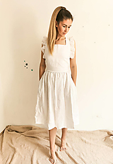 Šaty - Dámske ľanové šaty s volánmi (Biela) - 13456552_