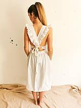 Šaty - Dámske ľanové šaty s volánmi (Biela) - 13456558_