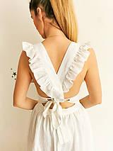 Šaty - Dámske ľanové šaty s volánmi (Biela) - 13456559_