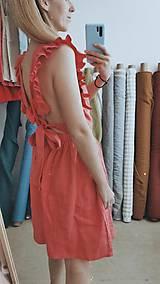 Šaty - Dámske ľanové šaty s volánmi (Biela) - 13456629_