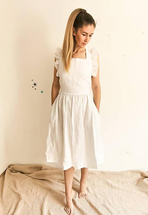 Dámske ľanové šaty s volánmi (Biela)
