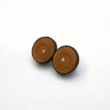 Náušnice - Drevené naušnice klipsňové - čremchové rezy - 13457533_