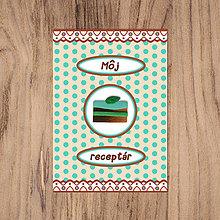 Papiernictvo - Bodkovaný receptárik s FIMO koláčikom (mätový) - 13456750_