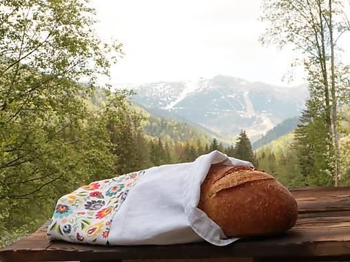 Ľanové vrecko na chlieb folkové kvety